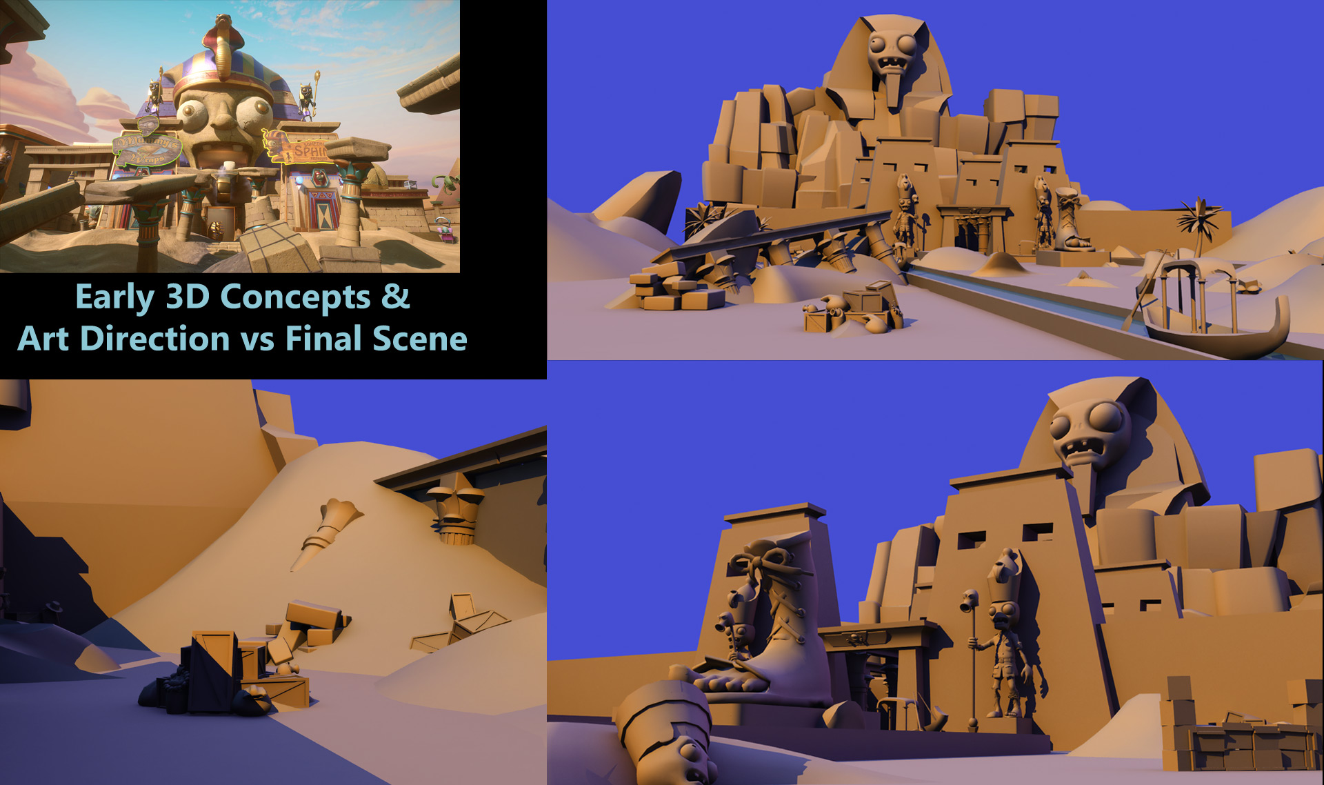 Example of the early look development, art direction and 3D concept work for a final level. I created the entirity of the early Art direction for this level