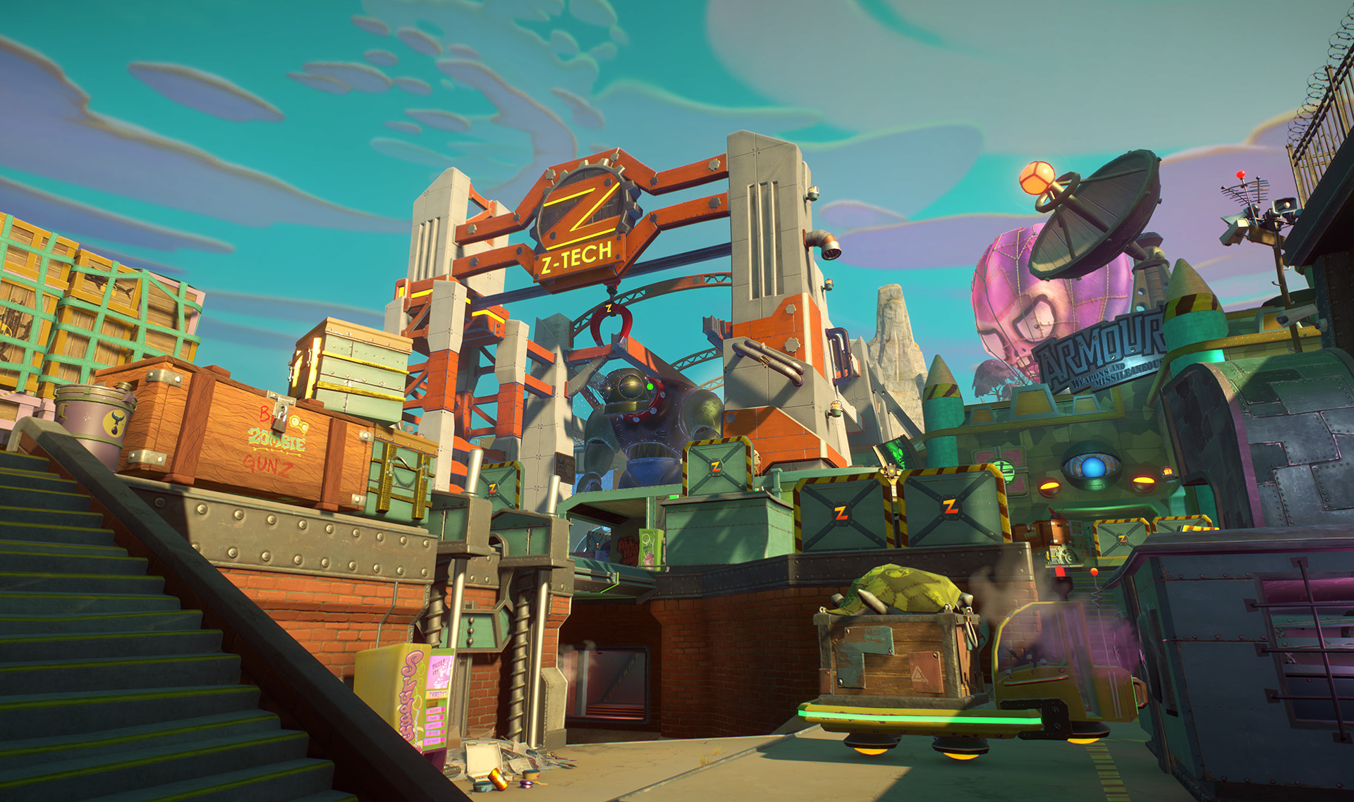 A screenshot from Plants vs Zombies: Garden Warfare 2. I created 3D environment concepts, final assets and environments