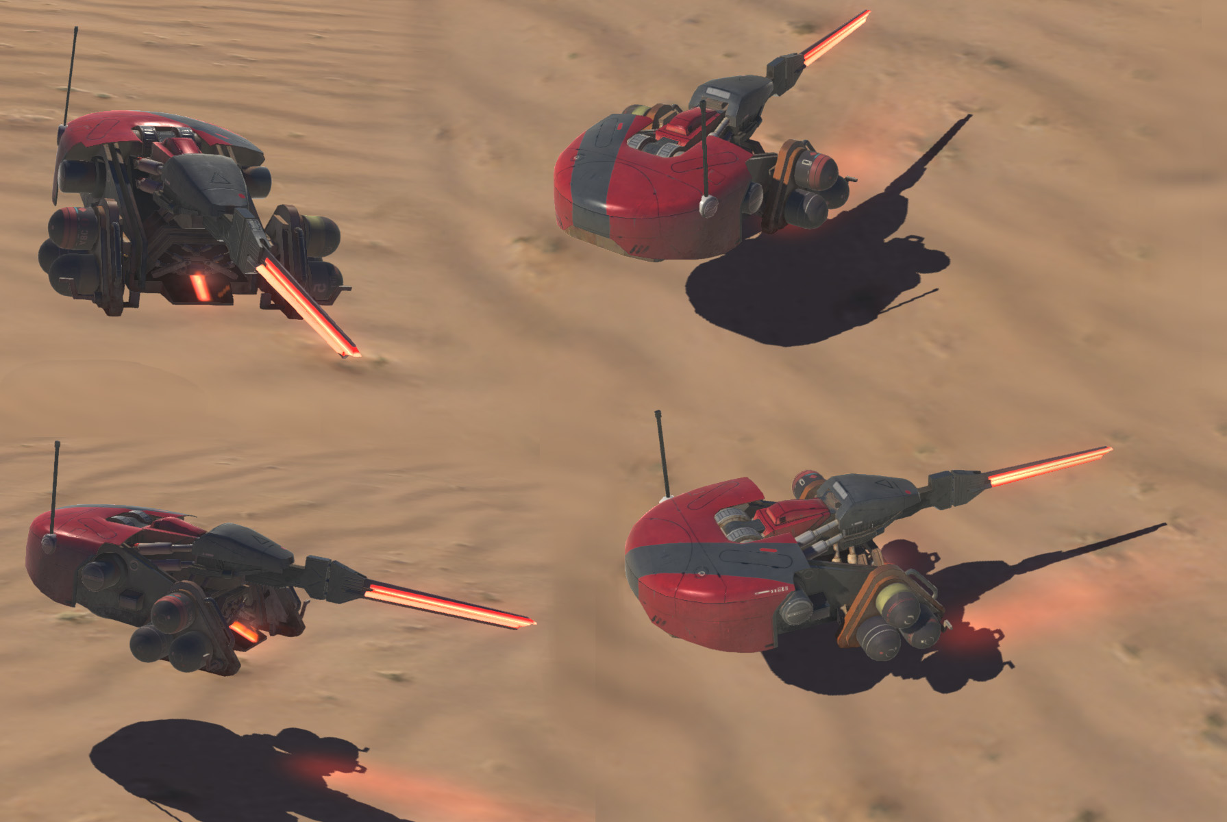 I created the model, rig and some VFX work for this vehicle on Homeworld: Deserts of Kharak. In game render - Unity