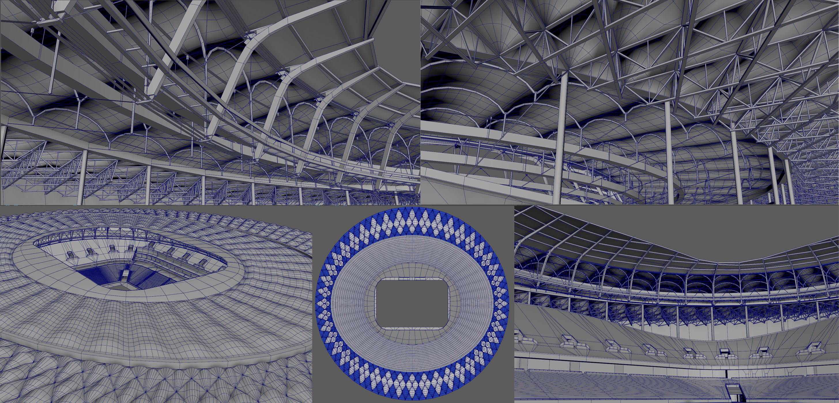 Volgograd Stadium wire frame breakdowns, maya screengrabs